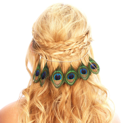 Image of Peacock Feather Hair Grip Women - Accessories