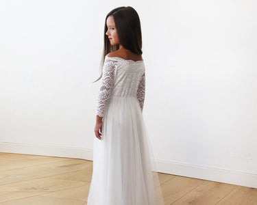 Mini Me Collection Ivory Wedding Dress With Train Off-The-Shoulder Kids & Babies - Mother Girls