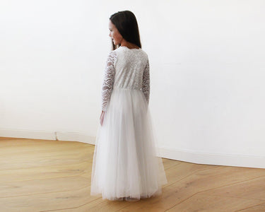 Tulle And Lace Long Sleeves Ivory Flower Girls Gown 5043 Women - Apparel Bridal