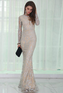 Silver Glitter Evening Dress Women - Apparel Dresses Cocktail