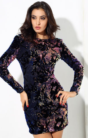 Image of Velvet Sequin Party Dress Women - Apparel Dresses Cocktail