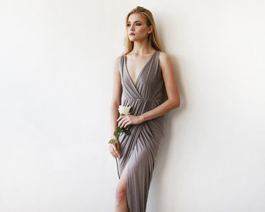 Taupe Wrap Tulip Dress With V Neckline Womens Fashion - Weddings & Events