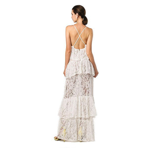 White Layered Maxi Dress Women - Apparel Dresses