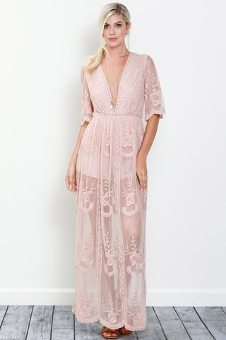Image of Amelia Maxi Dress S / Blush Women - Apparel Dresses