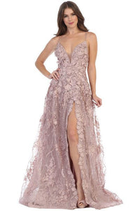 Long White Lace Prom Dress Formal Evening Gown Mauve / 2
