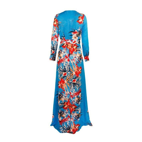 Image of Blue Kimono Dress Women - Apparel Dresses Maxi