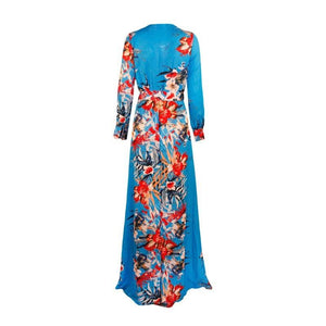 Blue Kimono Dress Women - Apparel Dresses Maxi