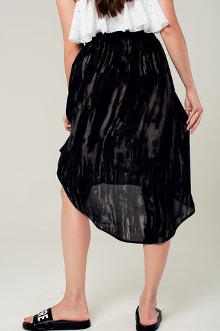 Asymmetric Hem Skirt In Black And Gray Print Womens Fashion - Clothing