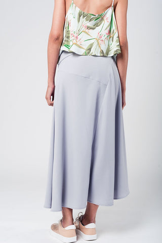 Grey Midi Skirt With Belt Womens Fashion - Clothing