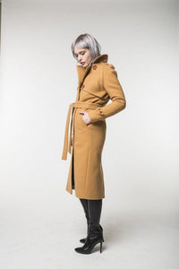 Camel Trench Coat / Spring - Autumn Womens Collection 2018 By Revalu Women Apparel Outerwear Coats