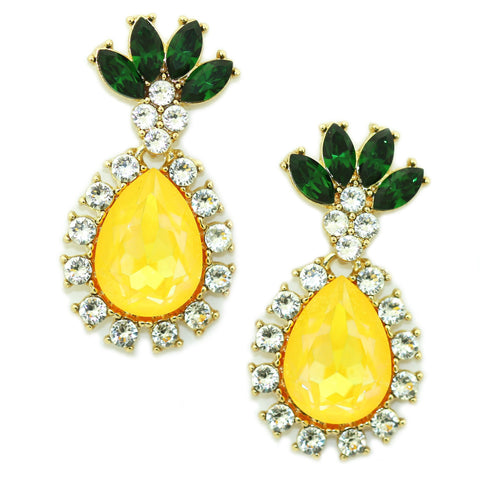 Image of Pineapple Drop Earrings Citrine Yellow Women - Jewelry