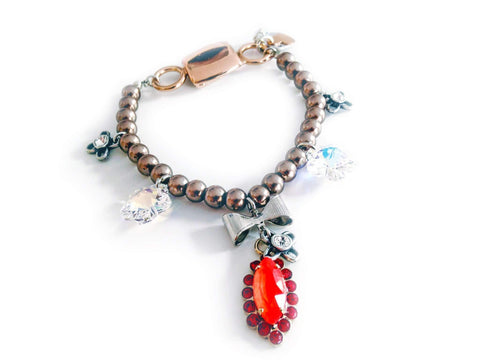 Image of Beaded Bracelet With Orange Rhinestones Jewelry & Accessories - Bracelets Bangles