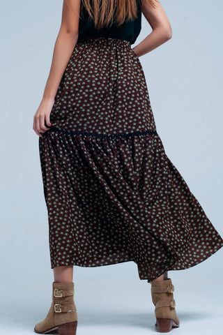 Image of Green Floral Tiered Maxi Skirt Womens Fashion - Clothing