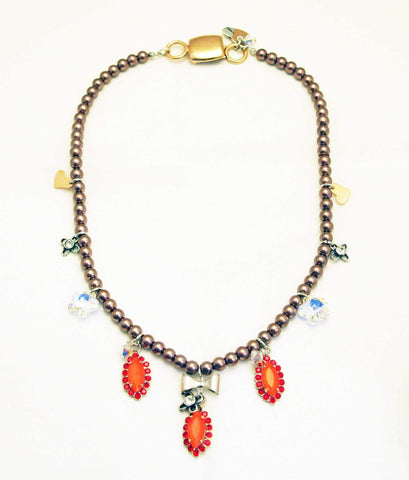 Beaded Necklace With Orange Rhinestones Silver Plated Brass And Small Charms. Jewelry & Accessories