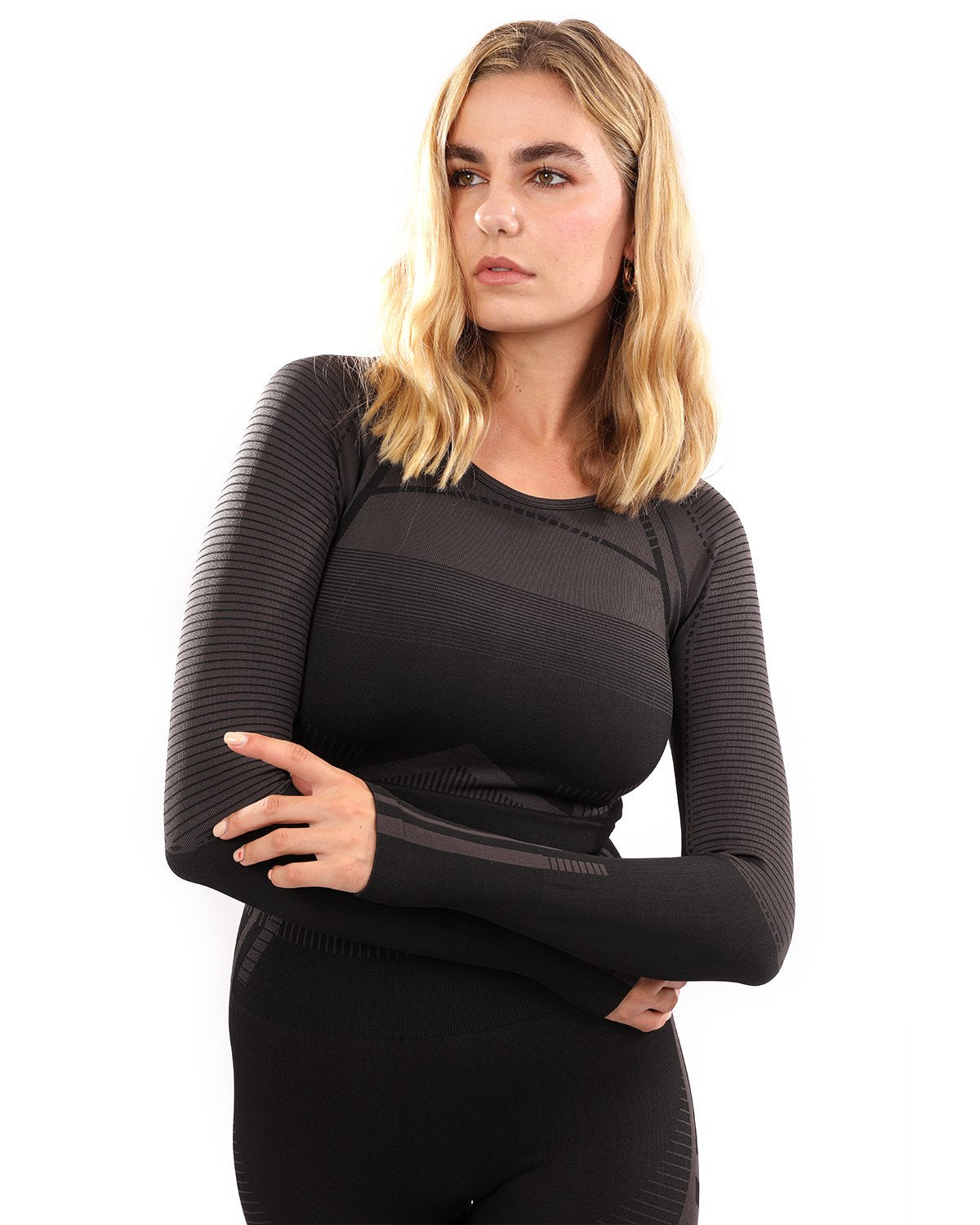 Decata Seamless Sports Top - Black & Brown