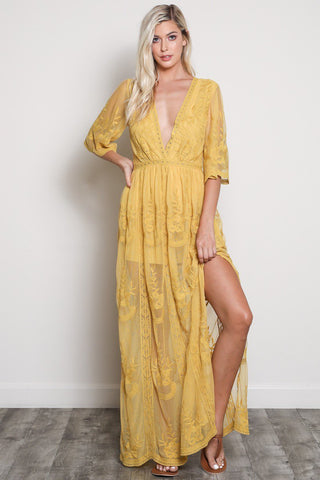 Image of Amelia Maxi Dress S / Mustard Women - Apparel Dresses