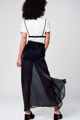 Black Maxi Skirt In Chiffon Fabric Womens Fashion - Clothing