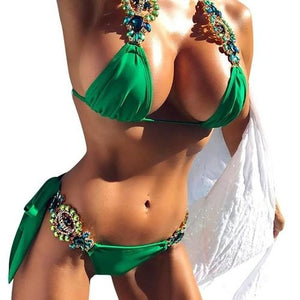 Gorgeous Bikini Set Sexy Swimwear With Rhinestones Womens Clothing