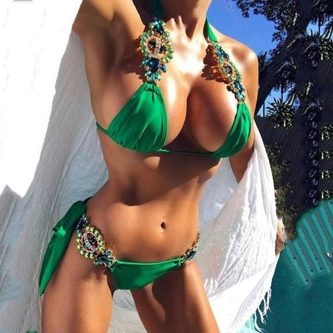 Image of Gorgeous Bikini Set Sexy Swimwear With Rhinestones L / A Womens Clothing
