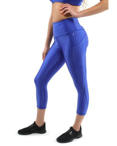 SALE! 50% OFF! Firenze Activewear Capri Leggings - Blue [MADE IN ITALY] - Size Small