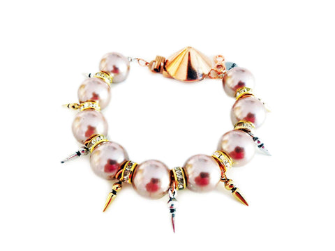 Handmade Statement Bracelet With Vintage Rose Pearls Swarovski Crystals Rhinestones And Gold Silver