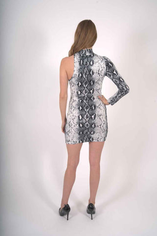 Image of Reeves One-Sleeve Snake Print Mini Dress