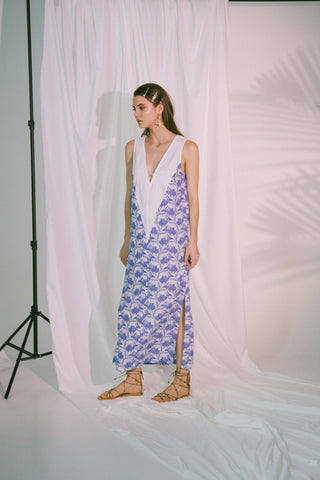 Image of V-Neck Two Tone Beach Maxi Dress In Blue Biro Sports & Entertainment - Swimming Cover-Ups