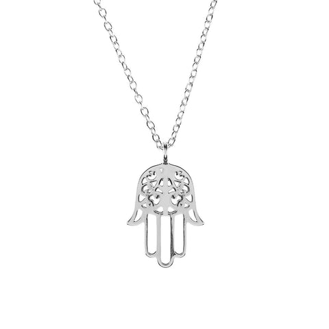 Image of Cosmic Hamsa Necklace Silver Women - Jewelry Necklaces