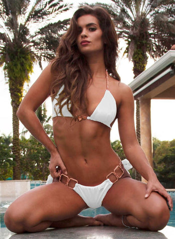 Image of Tessa Triangle Top & Tie Side Bottom - White Women Apparel Swimwear Bikinis Separates