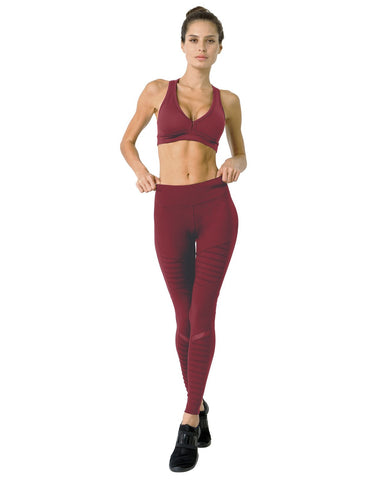 Image of Athletique Low-Waisted Ribbed Leggings With Hidden Pocket and Mesh Panels - Red