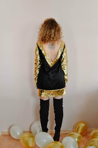 Image of Golden Sequin Mini Bareback Dress Women - Apparel Dresses Day To Night