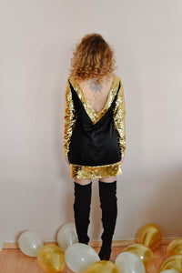 Golden Sequin Mini Bareback Dress Women - Apparel Dresses Day To Night