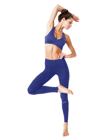Image of Athletique Low-Waisted Ribbed Leggings With Hidden Pocket and Mesh Panels - Navy