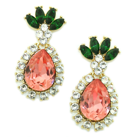 Image of Pineapple Drop Earrings Rose Peach Women - Jewelry