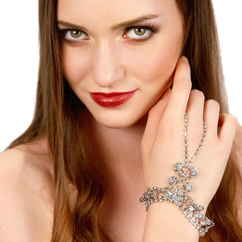 Image of Draping Crystals Handpiece Women - Jewelry Bracelets