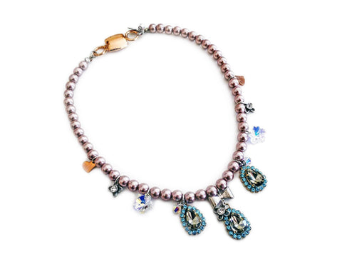 Beaded Necklace With Light Blue Rhinestones Silver Plated Brass And Small Charms. Jewelry &