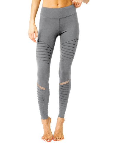 Image of Athletique Low-Waisted Ribbed Leggings With Hidden Pocket and Mesh Panels - Grey