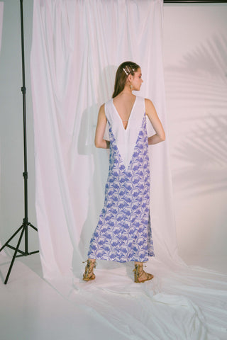 Image of V-Neck Two Tone Beach Maxi Dress In Blue Biro S Sports & Entertainment - Swimming Cover-Ups