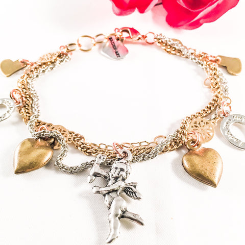 Heart And Cherub Multicharms Bracelet Jewelry & Accessories - Bracelets Bangles