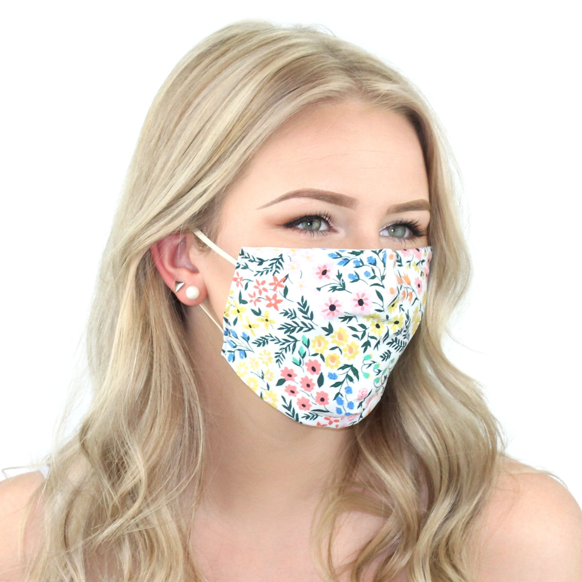 Reusable Cloth Face Mask With Pm2.5 Filter And Nose Bridge White Floral Beauty & Health