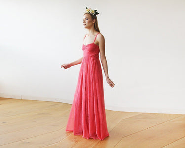 Coral Sweetheart Neckline Maxi Lace Dress 1080 Womens Fashion - Weddings & Events Evening Dresses