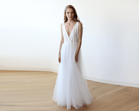 Image of Ivory Sequins And Tulle Bridal Wedding Gown Womens Fashion - Weddings & Events