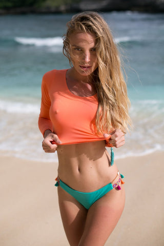 Image of Kendall Top Orange Women - Apparel Swimwear Bikinis Separates
