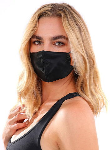 Chic Breathable Individually Wrapped Silk Face Mask In Black For Virus Protection Sports &