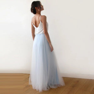 Fairy Ivory & Light Blue Tulle Wedding Gown Womens Fashion - Weddings Events Evening Dresses
