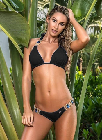 Image of Tina Halter Top & Skimpy Bottom - Black Women Apparel Swimwear Bikinis Separates