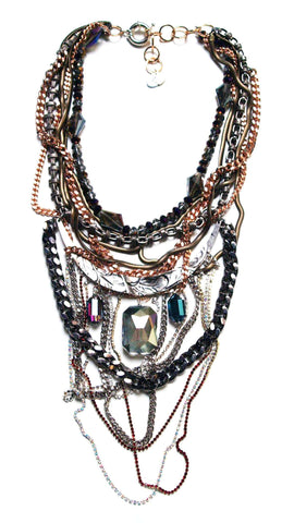 Multi Color Statement Necklace With Swarovski Crystals. Jewelry & Accessories - Necklaces Pendants