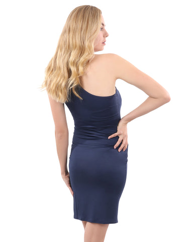 Image of Eden Asymmetric Neckline Mini Dress - Navy