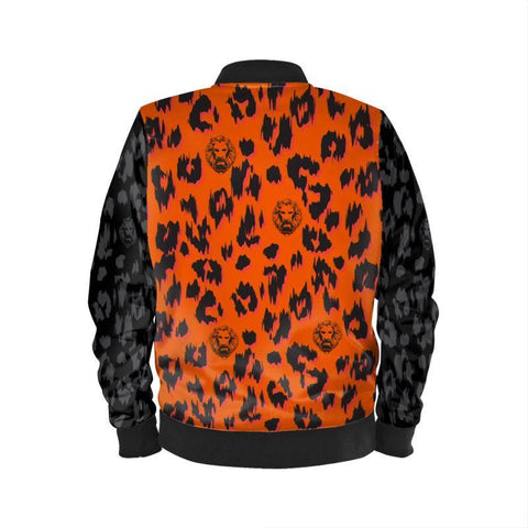Image of Orange & Black Sleeve Leopard Bomber Jacket Mens Fashion - Clothing Jackets Coats
