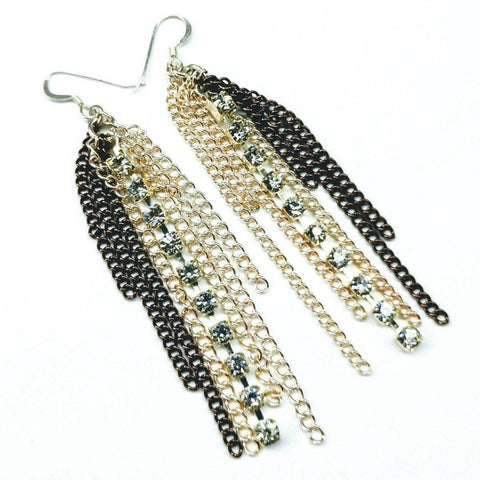 Image of Rhinestone Crystal Chain Fringe Earrings Jewelry & Accessories -